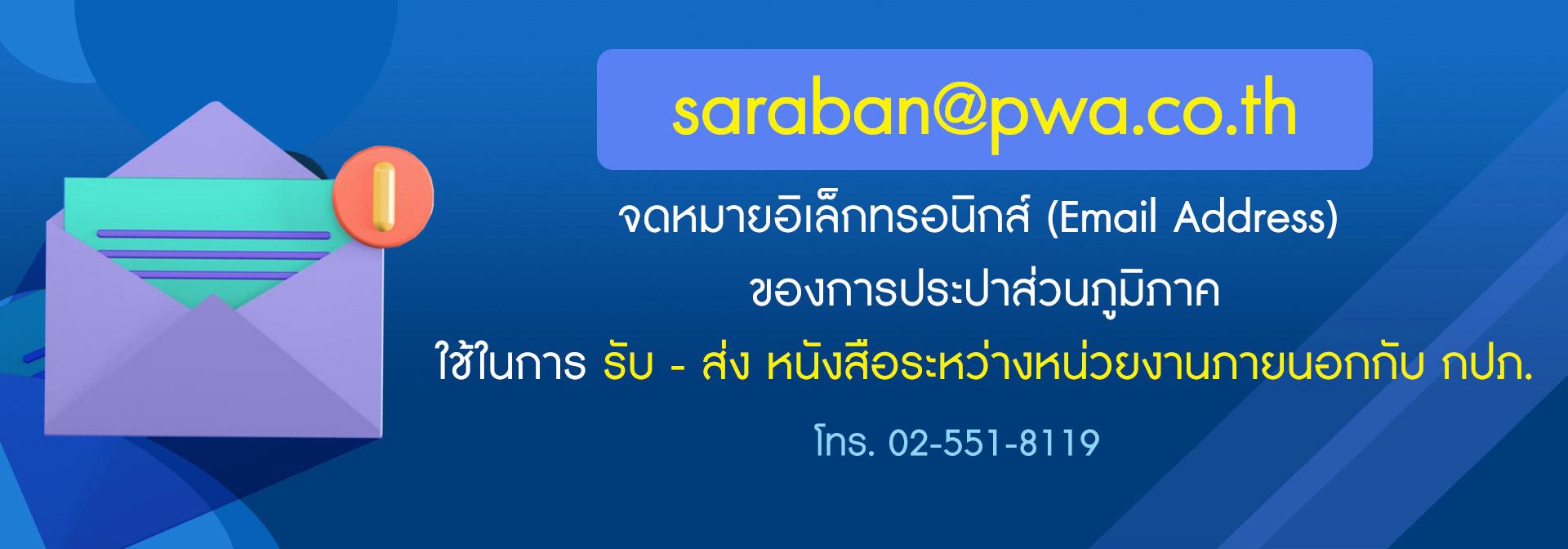 จดหมายอิเล็กทรอนิกส์ (Email Address) ของการประปาส่วนภูมิภาค